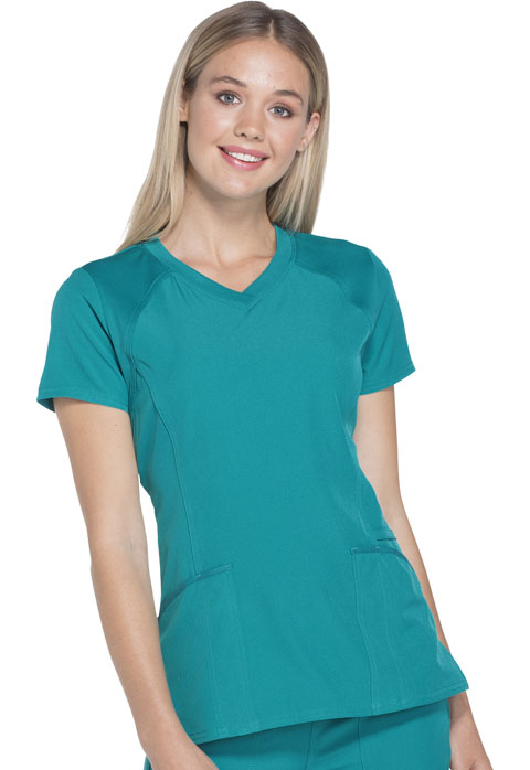 c3c341393a2 Break on Through V-Neck Top in Teal Blue HS660-TEAH from Cherokee ...