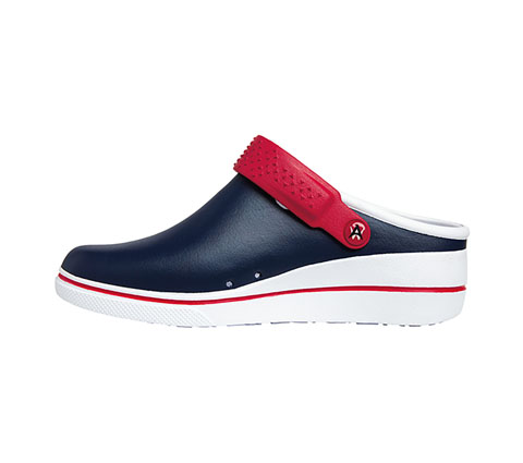 Clog Women PEAK Navy with Red and White Sole