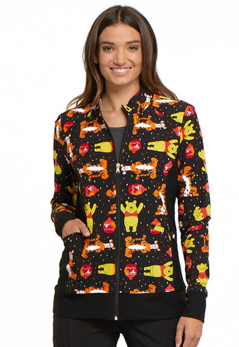 Licensed Prints Women Zip Front Warm-Up Jacket A Bear Likes Honey