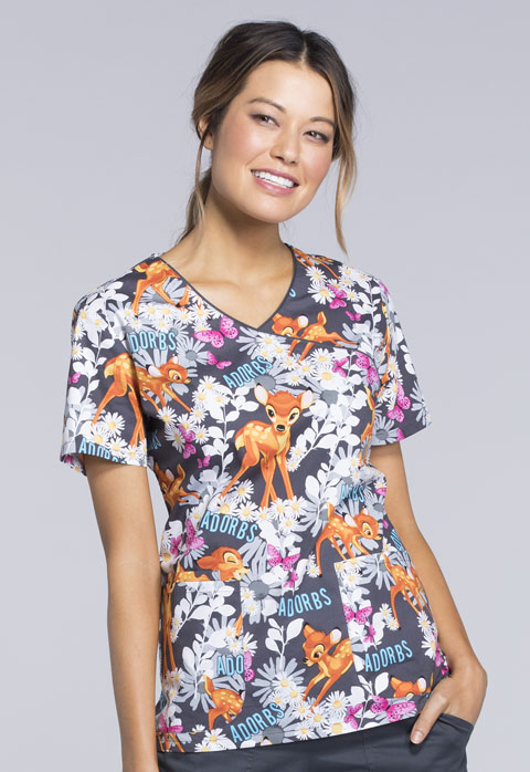 Tooniforms Cherokee Licensed Women's Mock Wrap Top Bambi Is Adorable
