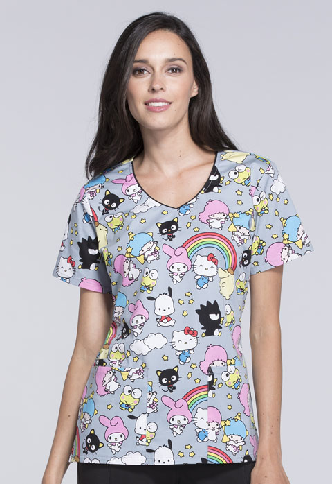 Tooniforms Cherokee Licensed Women's V-Neck Top Hello Sanrio