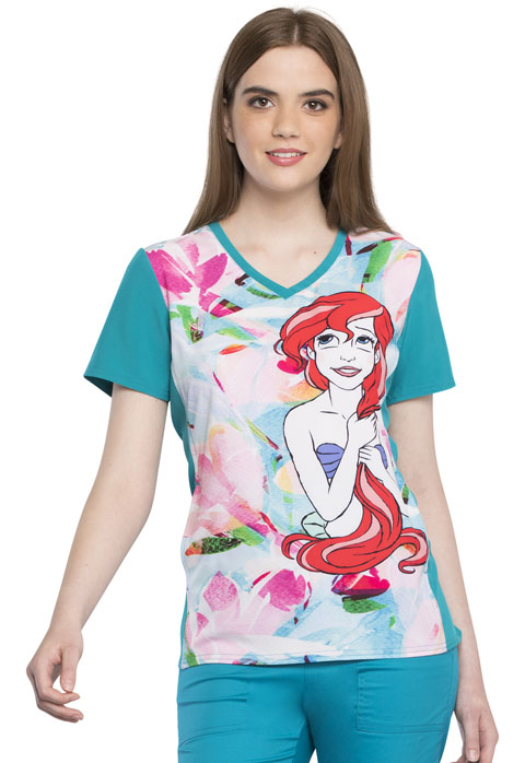 Tooniforms Licensed Prints Women's V-Neck Top Ariel Splash