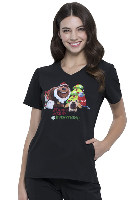 Licensed Prints Women's V-Neck Top Holly Jolly Pets