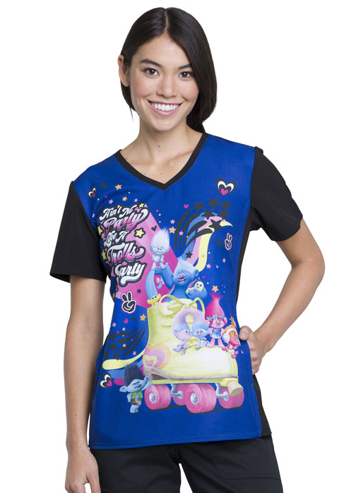 Licensed Prints Women's V-Neck Top Trolls Party