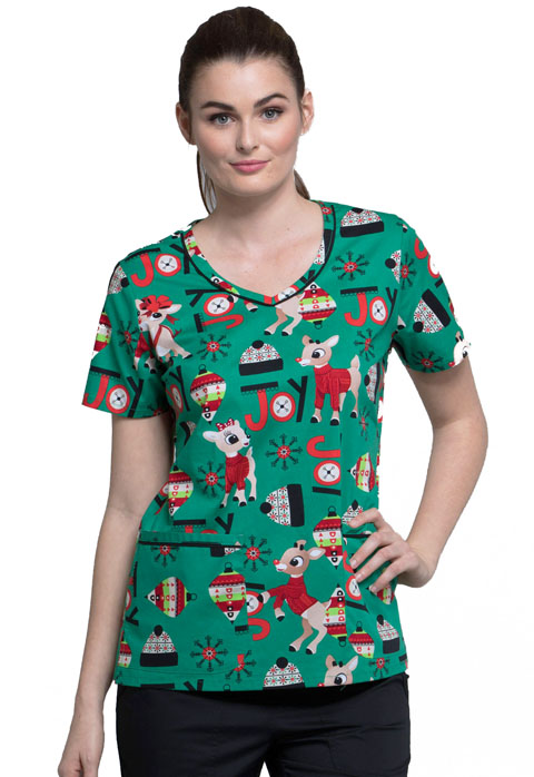 Tooniforms Licensed Prints Women's V-Neck Top Rudolph Joy