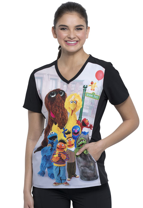 Licensed Prints Women V-Neck Top Sesame Friends