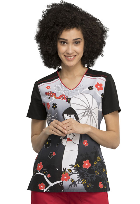 Licensed Prints Women V-Neck Top Mulan And Mushu