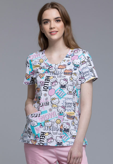 Tooniforms Licensed Prints Women's V-Neck Top Hello Supercute