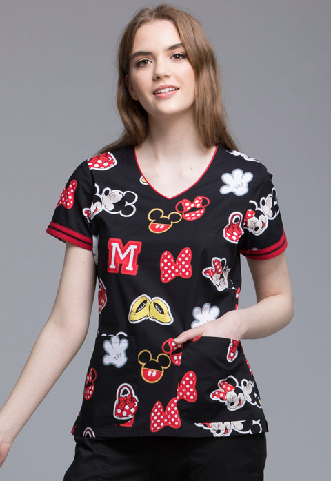 Tooniforms Cherokee Licensed Women's V-Neck Top Minnie Patches