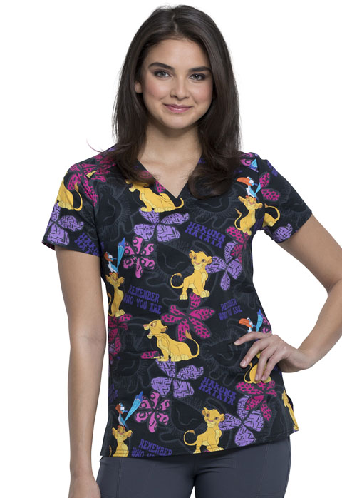 Licensed Prints Women V-Neck Top Simba Remembers