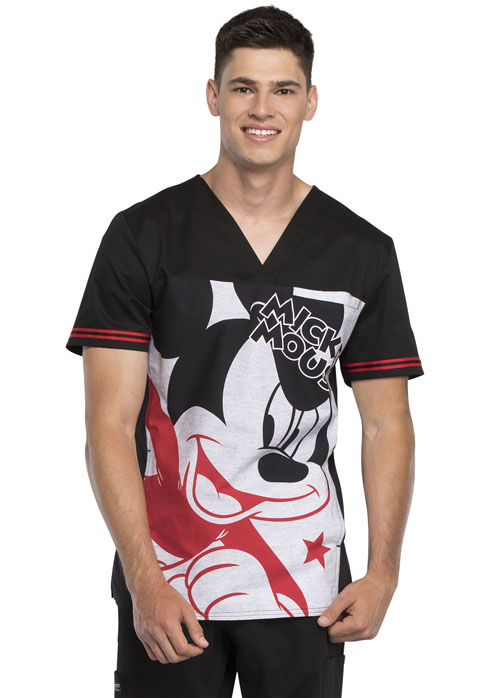 Tooniforms Licensed Prints Men's Men's V-Neck Top Mickey Star