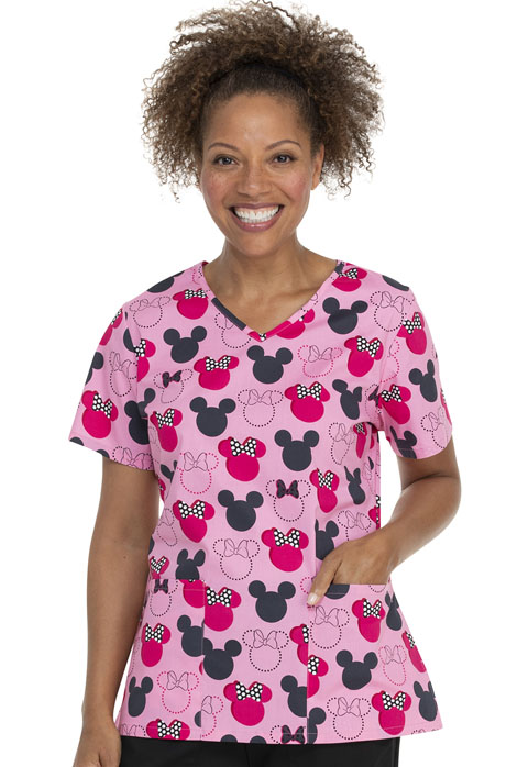 ScrubStar Canada Women Women's V-neck Printed Top Dot Rockin'