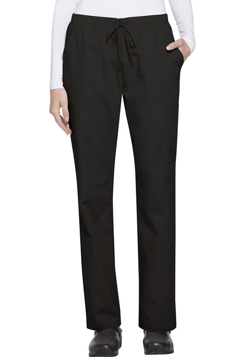 ScrubStar Women Women's Brushed Poplin Drawstring Pant Black