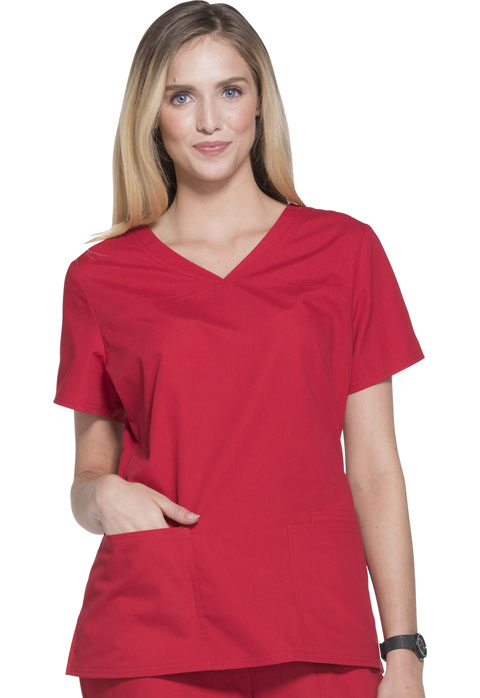 ScrubStar Women Women's Brushed Poplin V-neck Top Red