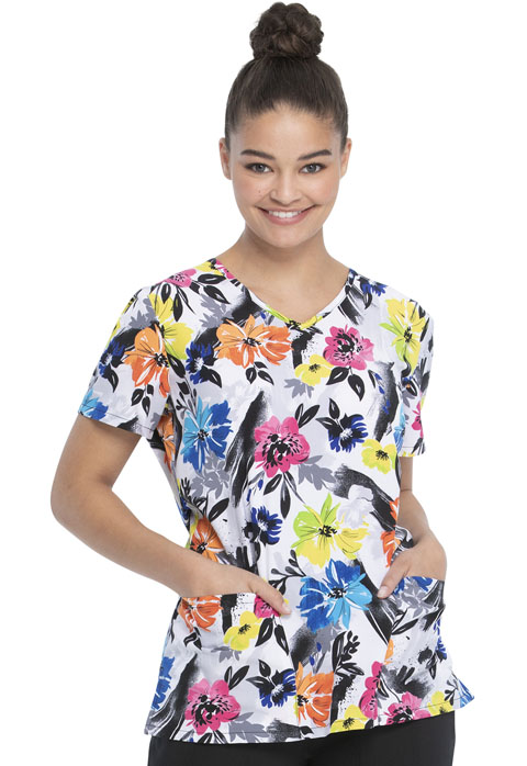 ScrubStar Women Women's V-neck Top Botanical Floral