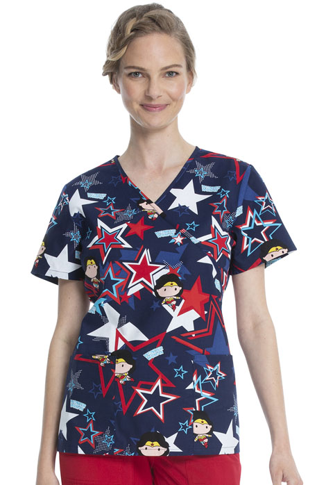 ScrubStar Women Women's Mock Wrap Top Super Hero Power