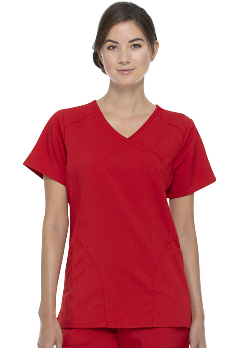 Walmart USA Premium Rayon Women Women's Mock Wrap Top Chili Red