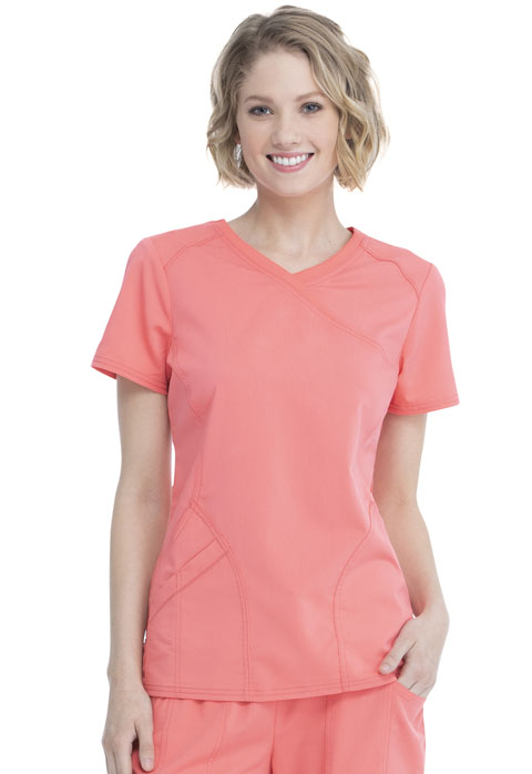 Walmart USA Premium Rayon Women Women's Mock Wrap Top Orange