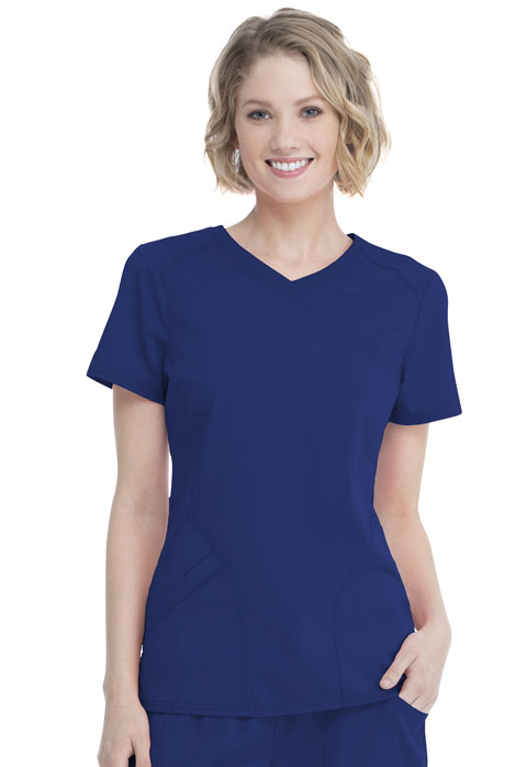 Walmart USA Premium Rayon Women's Women's Mock Wrap Top Blue