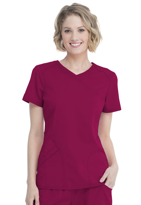 Walmart USA Premium Rayon Women's Women's Mock Wrap Top Radiant Red