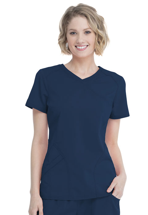 Walmart USA Premium Rayon Women Women's Mock Wrap Top Blue