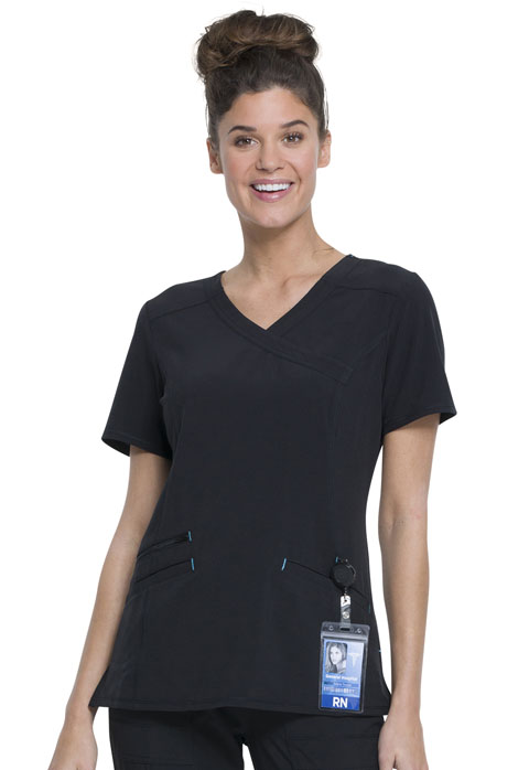 Walmart USA Performance Women's Women's Mock Wrap Top Black