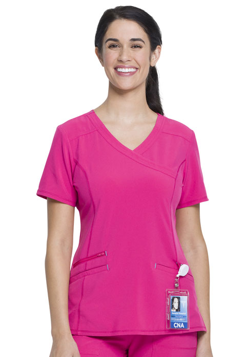 Walmart USA Performance Women Mock Wrap Top Extreme Pink