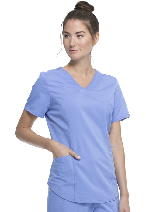 Walmart USA Premium Rayon Women Premium Mock Wrap Top Blue