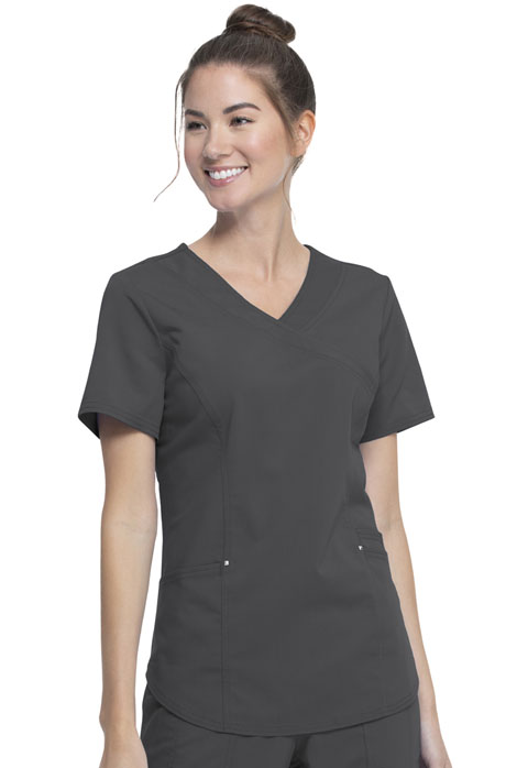 Walmart USA Premium Rayon Women Premium Mock Wrap Top Gray