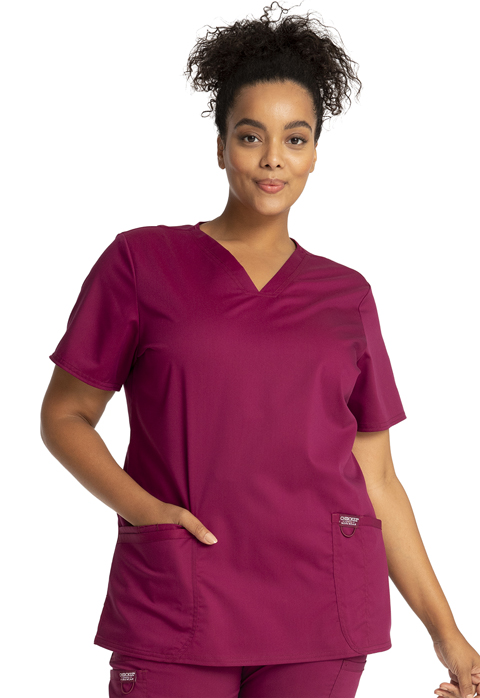 Cherokee Workwear WW Revolution Women's V-Neck Top Red