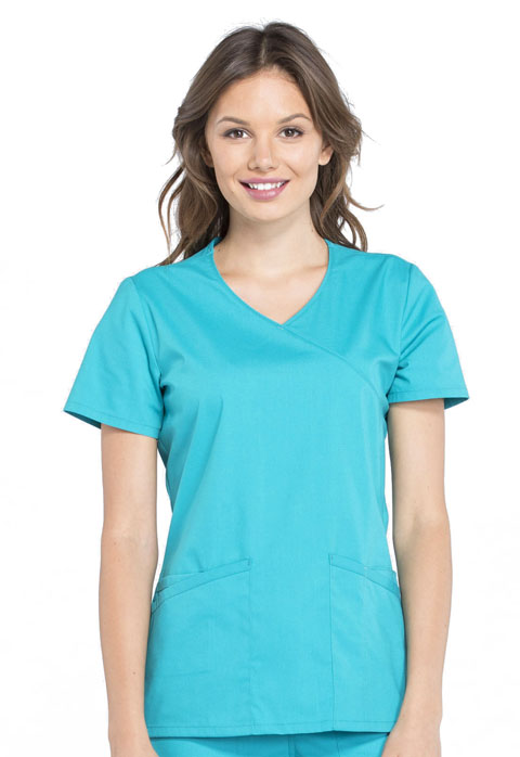 b52722056c5 WW Professionals Mock Wrap Top in Teal Blue WW655-TLB from Cherokee ...