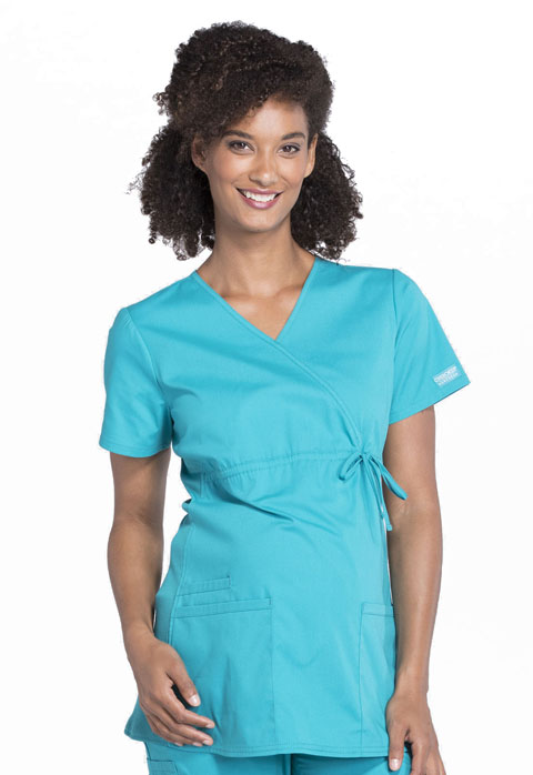 349d7456cbf WW Professionals Maternity Mock Wrap Top in Teal Blue WW685-TLB from ...