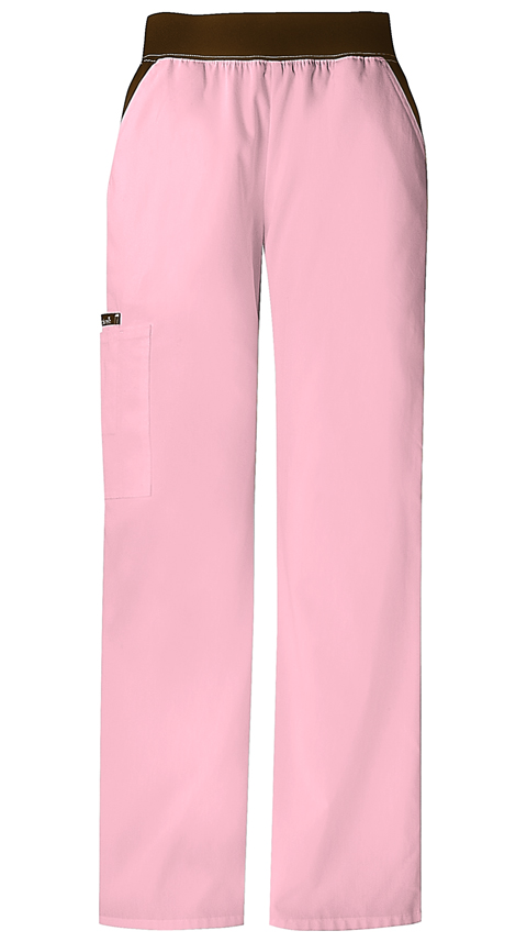 Cherokee Flexibles Women's Mid Rise Knit Waist Pull-On Pant Pink