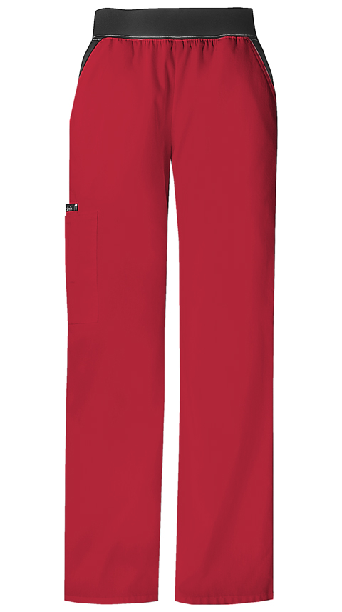 Cherokee Flexibles Women's Mid Rise Knit Waist Pull-On Pant Red