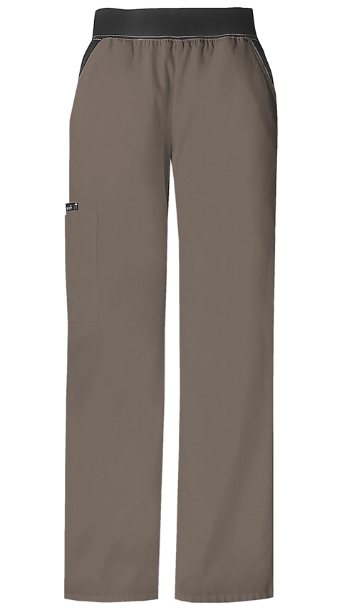Cherokee Flexibles Women's Mid Rise Knit Waist Pull-On Pant Neutral