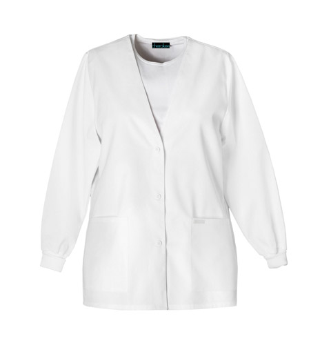 Cherokee Cherokee Whites Women's Button Front Warm-Up Jacket White