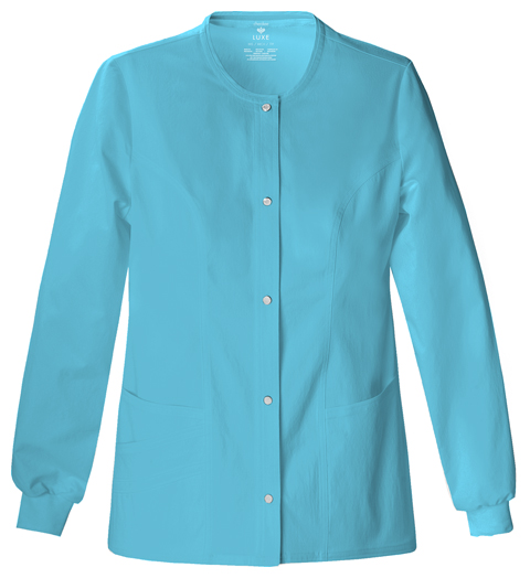 Luxe Women's Snap Front Warm-Up Jacket Blue