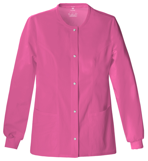 Cherokee Luxe Women's Snap Front Warm-Up Jacket Pink