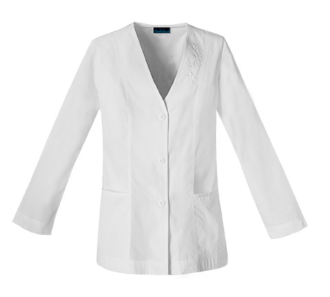 Cherokee Whites Women's Button Front Embroidered Jacket White