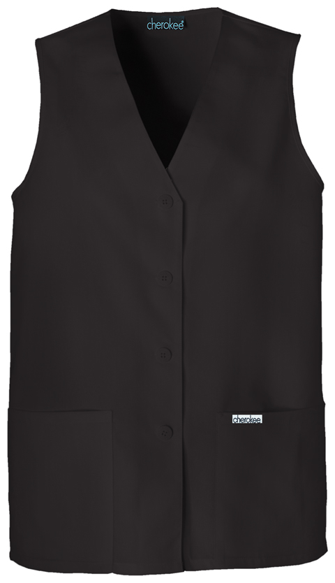 Cherokee Cherokee Fashion Solids Women's Button Front Vest Black