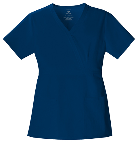 Cherokee Luxe Women's Mock Wrap Top Blue