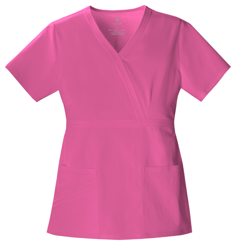 Cherokee Luxe Women's Mock Wrap Top Pink
