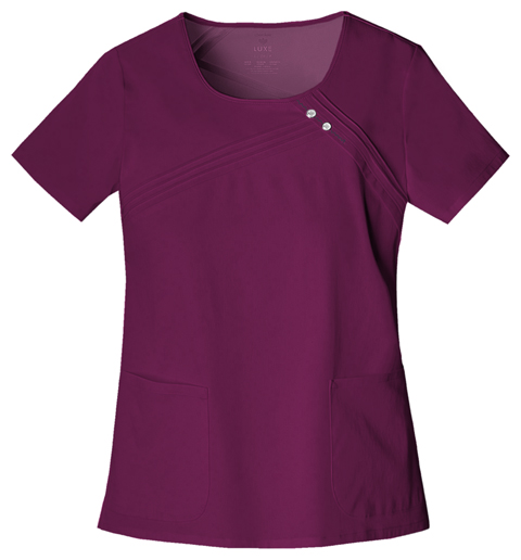 Cherokee Luxe Women's Round Neck Pin-Tuck Top Red