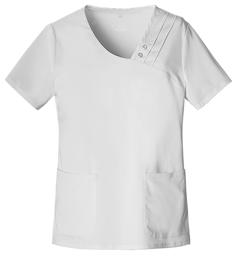 Luxe Women's Crossover V-Neck Pin-Tuck Top White