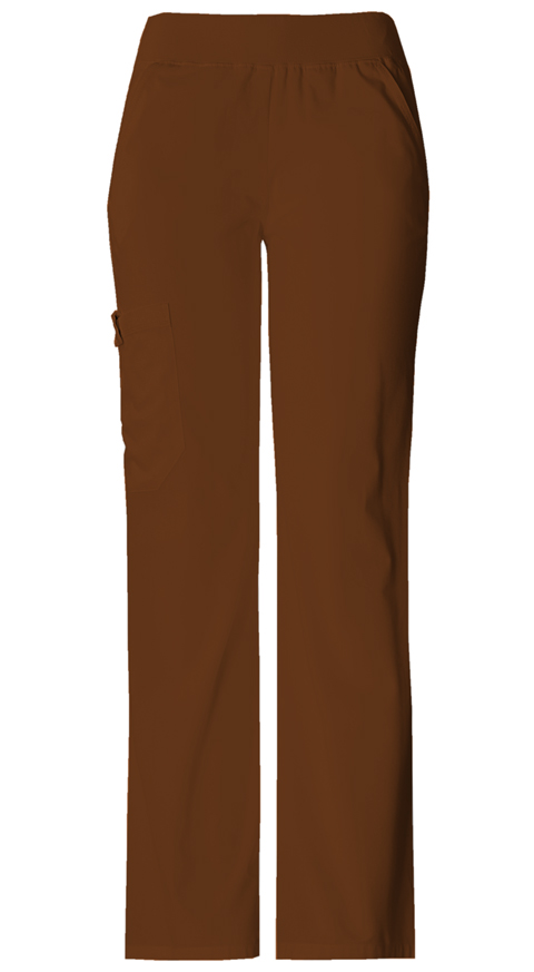 Cherokee Flexibles Women's Mid Rise Knit Waist Pull-On Pant Brown