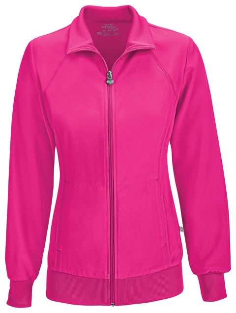 Zip Front Warm-Up Jacket in Carmine Pink from Cherokee Uniforms