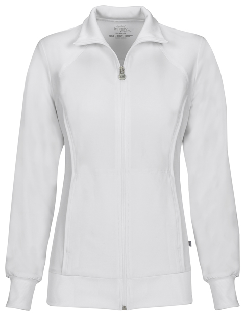 Cherokee Infinity Women's Zip Front Warm-Up Jacket White