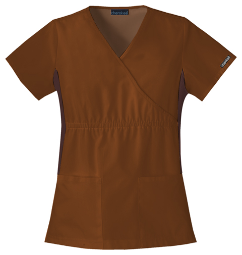 Cherokee Flexibles Women's Mock Wrap Knit Panel Top Brown