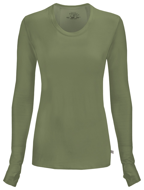 Infinity Women Long Sleeve Underscrub Knit Tee Green