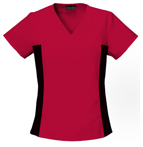 Flexibles Women's V-Neck Knit Panel Top Red